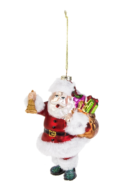 Украшение елочное Дед Мороз с колокольчиком и подаркамиПодарки на Новый год 2018<br>9*8*15см, стекло, полирезин<br>