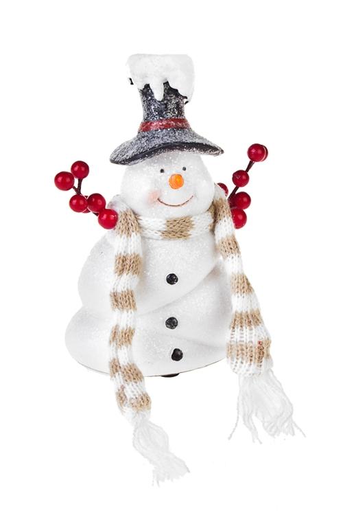 Украшение новогоднее СнеговикНовогодние сувениры<br>Выс=14.5см, текстиль, полирезин, бело-черное<br>