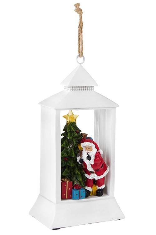 Украшение новогоднее светящееся Дед Мороз у елкиСветящиеся украшения<br>Выс=24.5см, полирезин, на батар.<br>