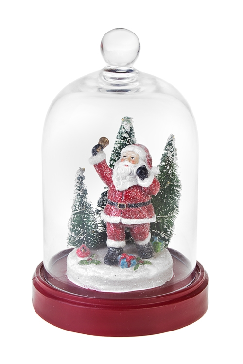 Украшение новогоднее светящееся Дедушка МорозРазвлечения и вечеринки<br>Выс=24см, полирезин, под стекл. куполом, на батар.<br>