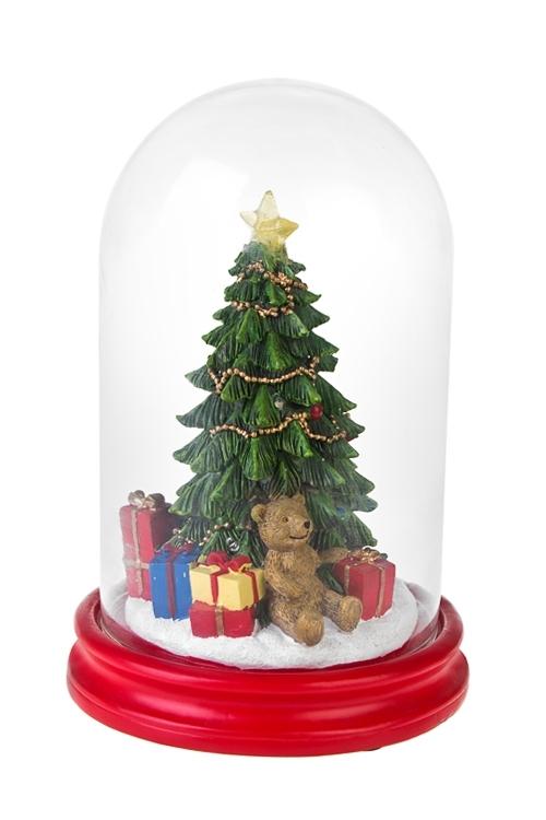 Украшение новогоднее светящееся Новогодняя елочкаСветящиеся украшения<br>Выс=24см, полирезин, под стекл. куполом, на батар.<br>