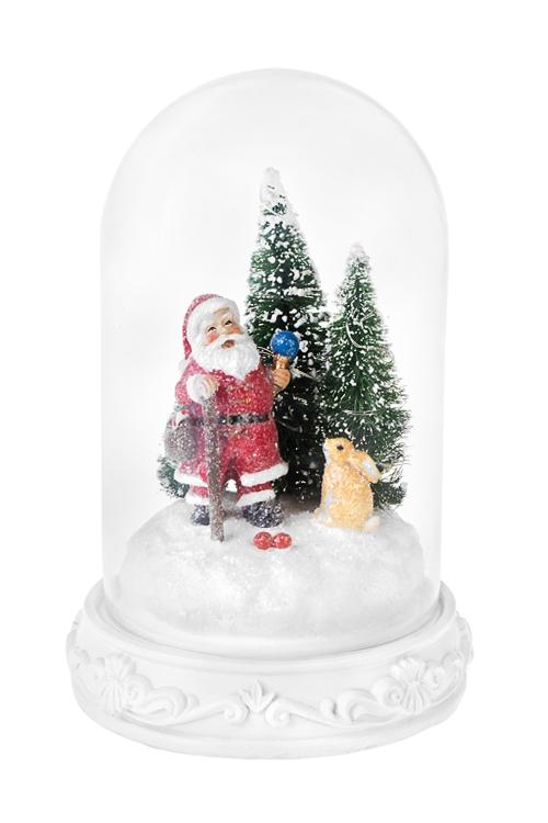 Украшение новогоднее светящееся Дед Мороз с зайкойРазвлечения и вечеринки<br>Выс=24см, полирезин, под стекл. куполом, на батар.<br>