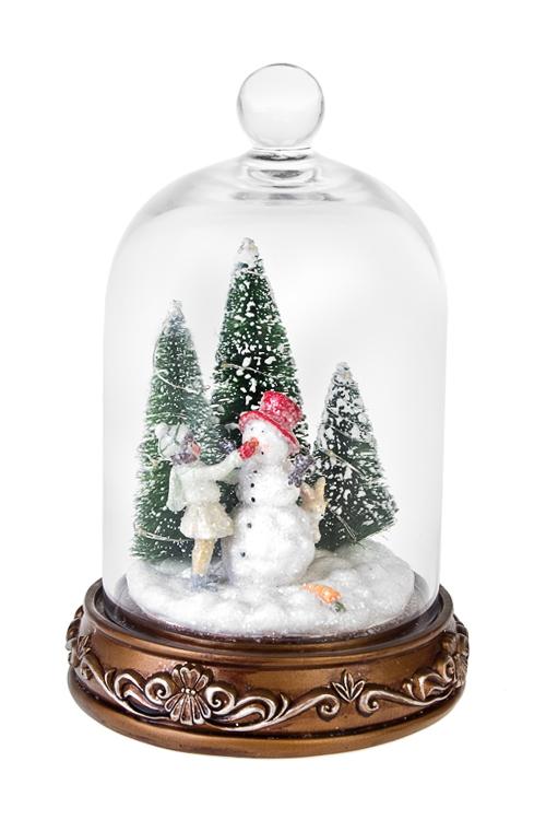 Украшение новогоднее светящееся Новогоднее настроениеСветящиеся украшения<br>Выс=24см, полирезин, под стекл. куполом, на батар<br>