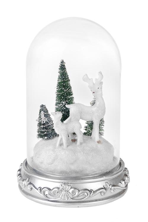 Украшение новогоднее светящееся Прекрасные олениСветящиеся украшения<br>Выс=24см, полирезин, под стекл. куполом, на батар.<br>