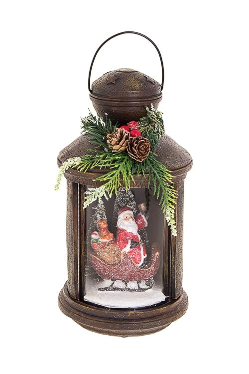 Украшение новогоднее светящееся Дед Мороз в санях с подаркамиПодарки на Новый год 2018<br>13*24см, полирезин, на батар.<br>