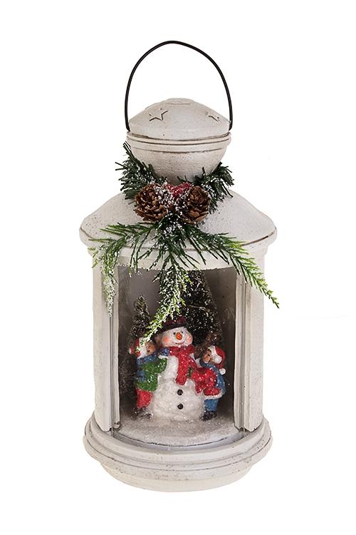 Украшение новогоднее светящееся Дети со снеговикомРождественские украшения<br>13*24см, полирезин, на батар.<br>