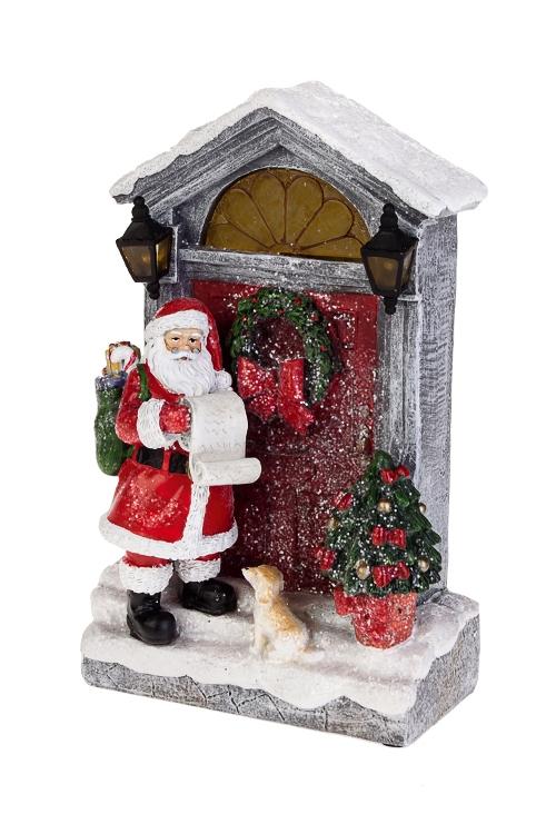 Украшение новогоднее светящееся Дед Мороз с мешком подарковРождественские украшения<br>13*8*23см, полирезин, на батар.<br>