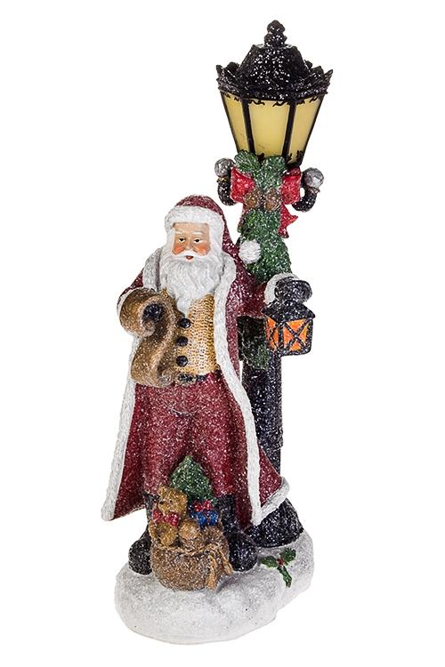 Украшение новогоднее светящееся Дед Мороз у фонаряРождественские украшения<br>12*15*38см, полирезин, на батар.<br>