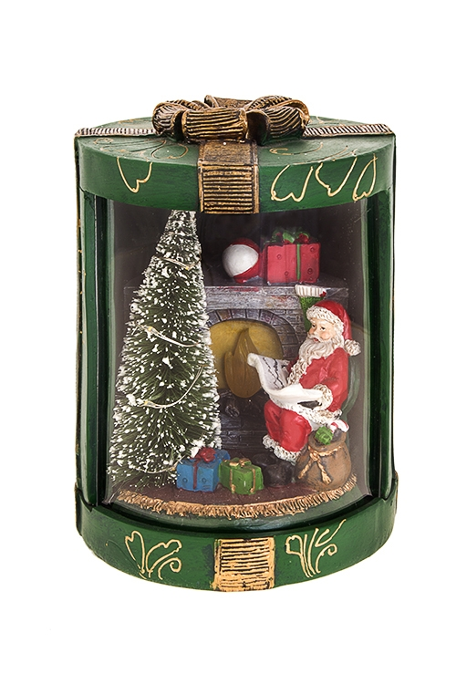 Украшение новогоднее светящееся Дед Мороз у каминаПодарки маме<br>14*17см, полирезин, на батар.<br>