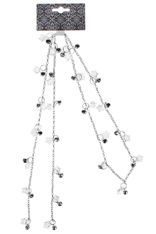 Гирлянда декоративная Звездочки и бубенцыДекоративные гирлянды и подвески<br>Дл=120см, металл, акрил, серебр.<br>