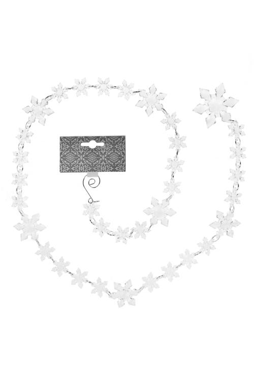 Гирлянда декоративная СнежинкиДекоративные гирлянды и подвески<br>Дл=130см, металл, акрил, прозр.<br>