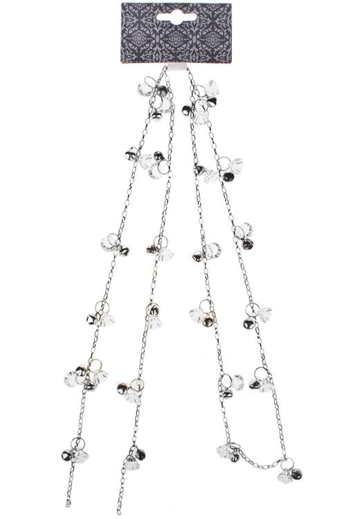 Гирлянда декоративная Кристаллы и бубенцыСувениры и упаковка<br>Дл=150см, металл, акрил, серебр.<br>