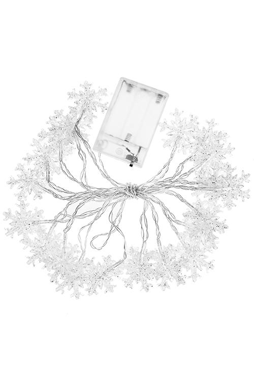 Гирлянда декоративная светящаяся СнежинкиЕлочные гирлянды и верхушки<br>Дл=305см, пластм., белая, на батарейках<br>