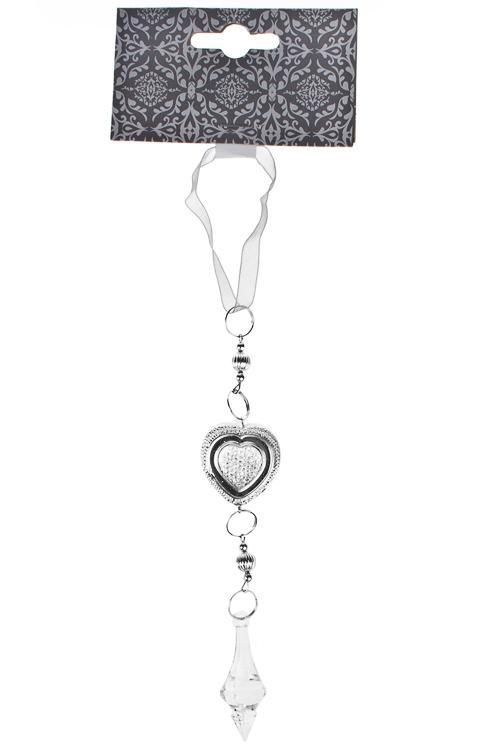Украшение декоративное Сердечко с кристалломДекоративные гирлянды и подвески<br>Выс=23см, акрил, серебр., подвесное<br>
