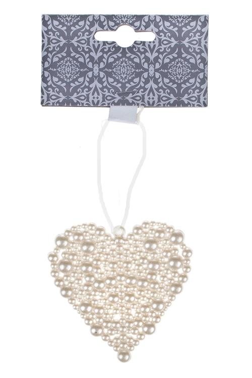 Украшение декоративное Жемчужное сердцеСувениры и упаковка<br>9*8см, пластм., крем., подвесное<br>