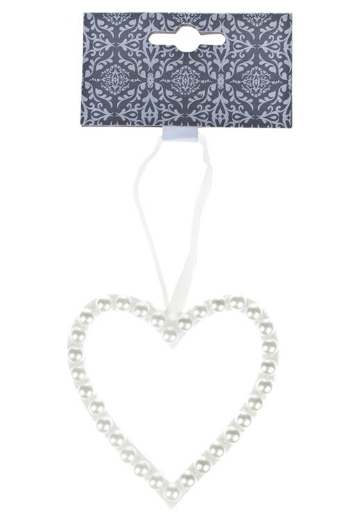 Украшение декоративное Жемчужное сердцеСувениры и упаковка<br>9*9см, пластм., крем., подвесное<br>