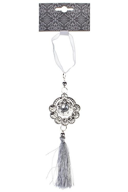 Украшение декоративное Подвеска с кисточкойДекоративные гирлянды и подвески<br>Выс=29см, пластм., металл, серебр., подвесное<br>