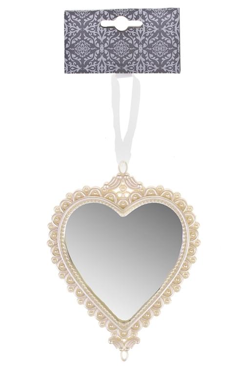 Украшение декоративное Зеркальное сердцеДекоративные гирлянды и подвески<br>16*12см, пластм., крем., подвесное<br>