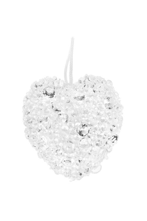 Украшение для интерьера Ледяное сердцеДекоративные гирлянды и подвески<br>Выс=8см, пенопласт, пластм., белое, подвесное<br>