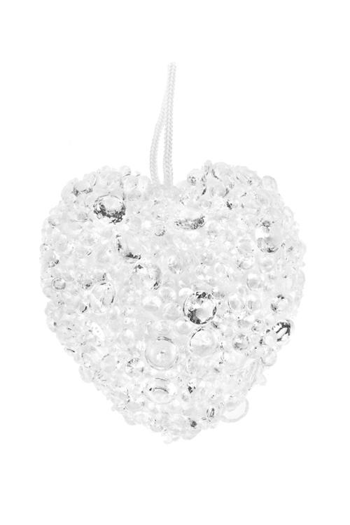 Украшение для интерьера Ледяное сердцеДекоративные гирлянды и подвески<br>Выс=10см, пенопласт, пластм., белое, подвесное<br>