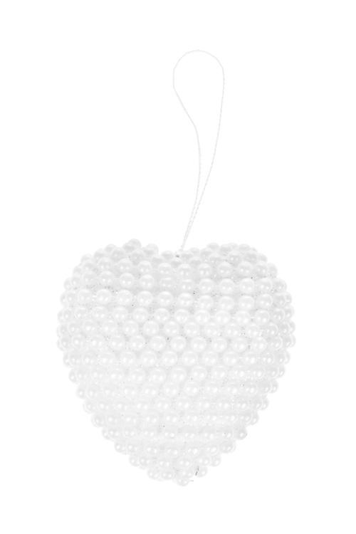 Украшение для интерьера Жемчужное сердцеСувениры и упаковка<br>Выс=8см, пенопласт, пластм., белое, подвесное<br>