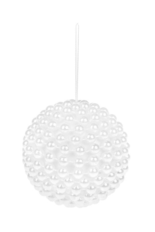 Украшение для интерьера Жемчужный шарСувениры и упаковка<br>Д=8см, пенопласт, пластм., белое, подвесное<br>