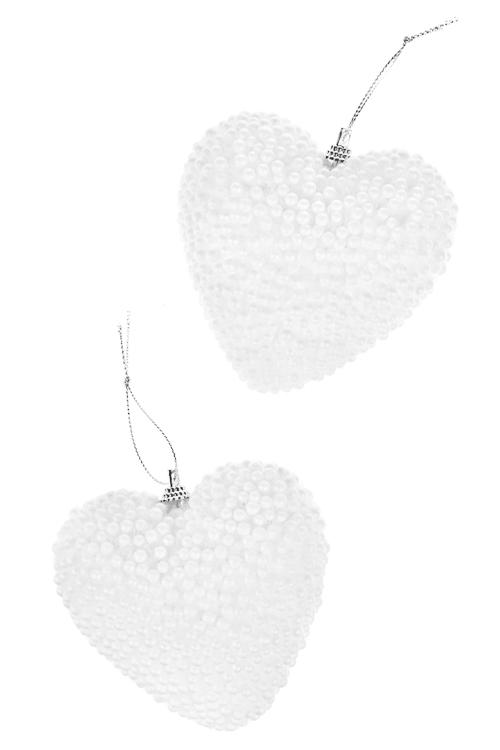 Набор украшений для интерьера Снежное сердцеСувениры и упаковка<br>Выс=10см, пенопласт, белый, подвесной<br>