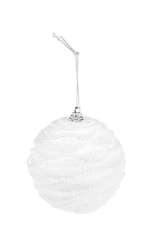 Украшение для интерьера Танец жемчужинЕлочные шары<br>Д=8см, пенопласт, белое, подвесное<br>