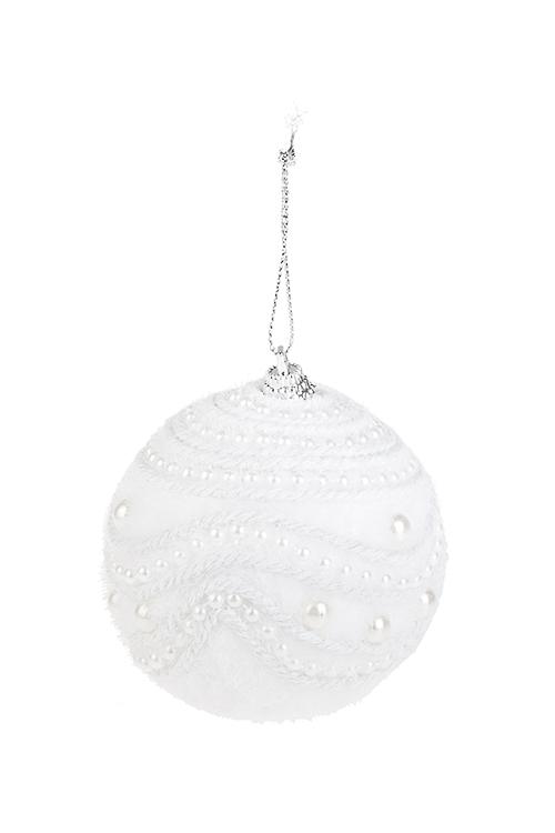 Украшение для интерьера Снежный шар с жемчужинкамиЕлочные шары<br>Д=8см, пенопласт, белое, подвесное<br>