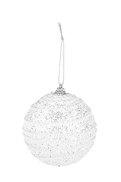 Украшение для интерьера Жемчужное ожерельеЕлочные шары<br>Д=8см, пенопласт, белое, подвесное<br>