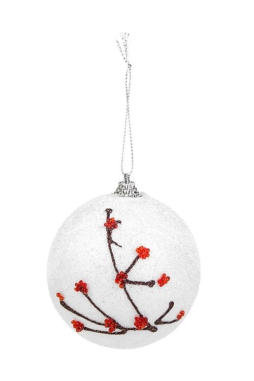 Украшение для интерьера Веточки рябинкиЕлочные шары<br>Д=8см, пенопласт, пластм., бело-красное, подвесное<br>
