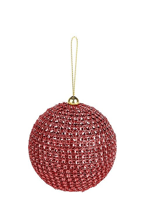 Украшение для интерьера Сверкающий шарЕлочные шары<br>Д=8см, пластм., красное, подвесное<br>