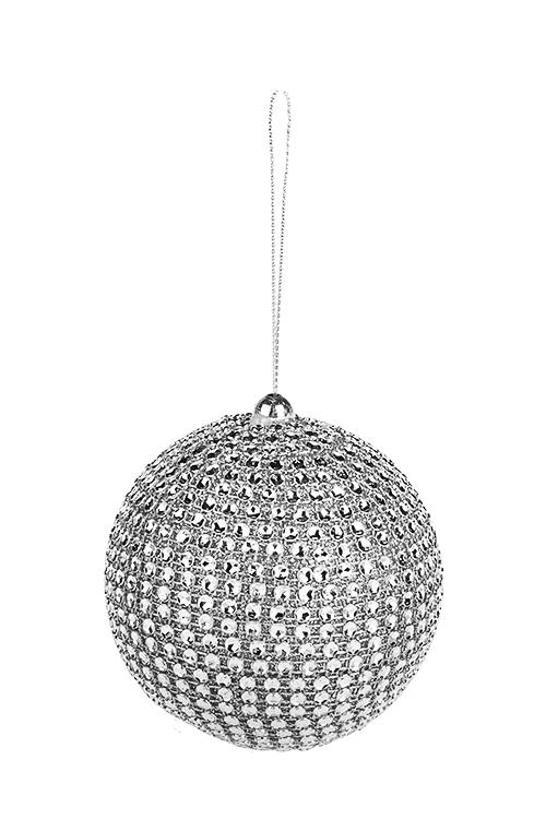 Украшение для интерьера Сверкающий шарЕлочные шары<br>Д=8см, пластм., серебр., подвесное<br>