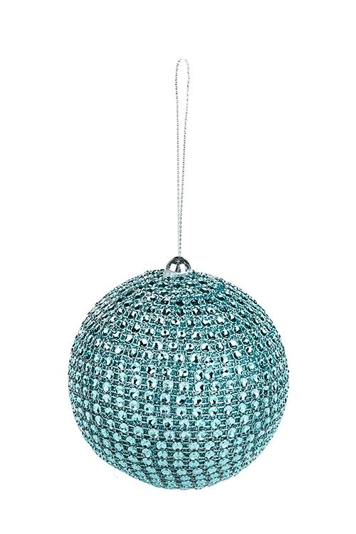 Украшение для интерьера Сверкающий шарПодарки на Новый год 2018<br>Д=8см, пластм., голубое, подвесное<br>