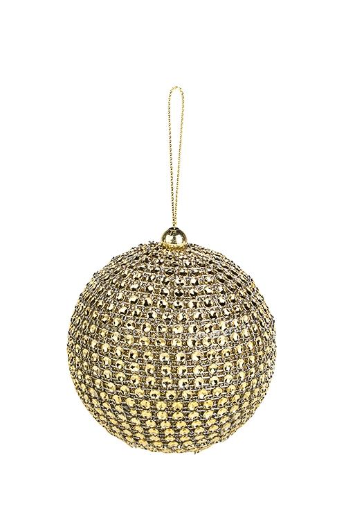 Украшение для интерьера Сверкающий шарПодарки на Новый год 2018<br>Д=8см, пластм., золот., подвесное<br>