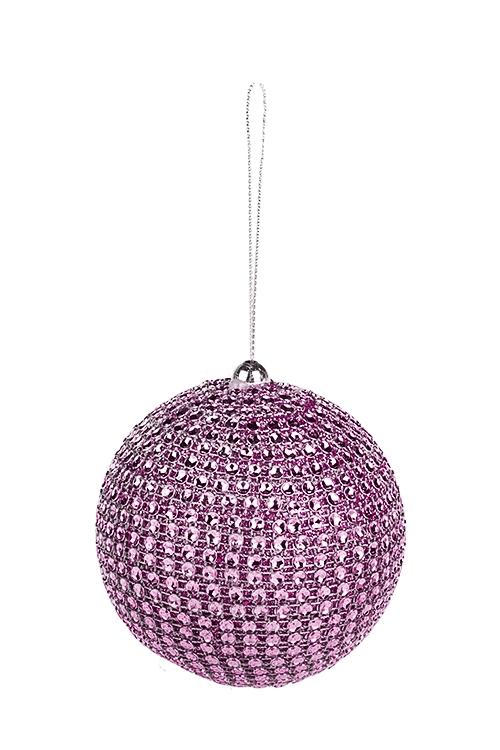 Украшение для интерьера Сверкающий шарЕлочные шары<br>Д=8см, пластм., розовое, подвесное<br>