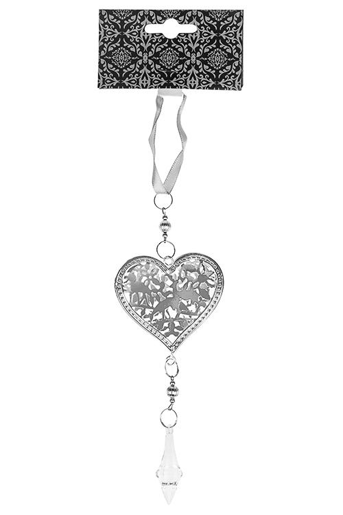 Украшение декоративное Резное сердцеДля любимой<br>Выс=16см, металл, пластм., серебр., подвесное<br>