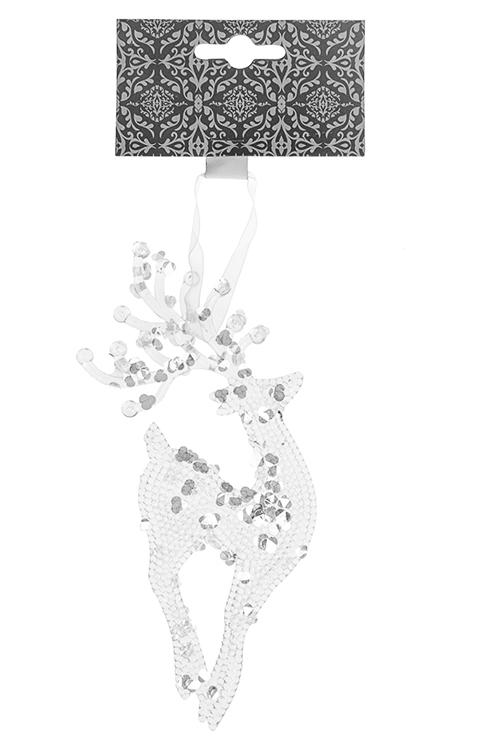 Украшение декоративное ОленьАкриловые елочные игрушки<br>6*18см, пластм., прозр., подвесное<br>