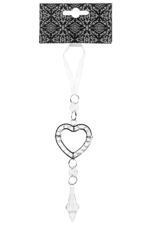 Украшение декоративное Сердце с кристалломДля любимой<br>Выс=15см, пластм., металл, серебр., подвесное<br>