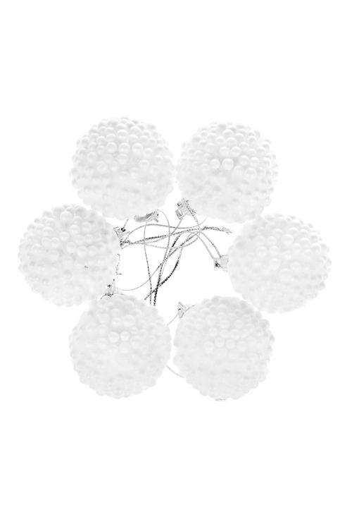 Набор шаров елочных СнежкиДекоративные гирлянды и подвески<br>Д=4см, пенопласт, белый, подвесной<br>