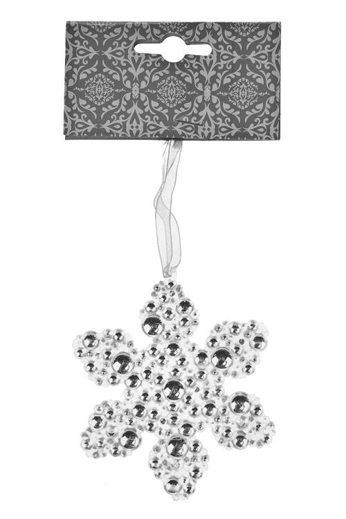 Украшение новогоднее Ледяная снежинкаДекоративные гирлянды и подвески<br>9.5*9.5см, пластм., серебр., подвесное<br>