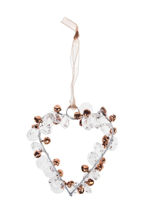 Украшение новогоднее Сердце с бубенцамиДекоративные гирлянды и подвески<br>Выс=8см, металл, акрил, розово-золот., подвесное<br>