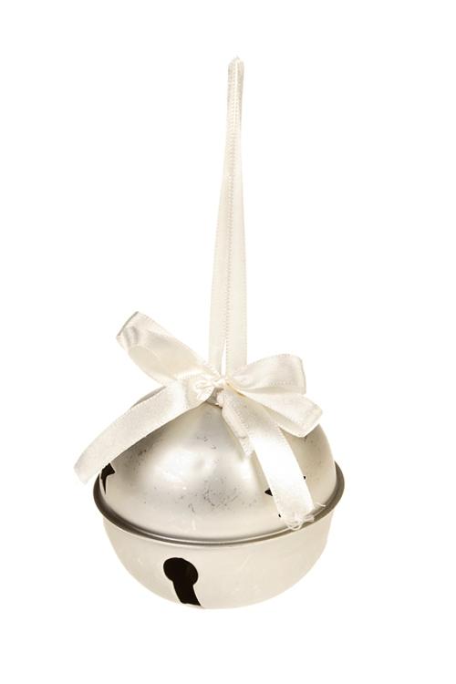 Украшение новогоднее Бубенец со звездочкамиСувениры и упаковка<br>Выс=8см, металл, крем.-золот., подвесное<br>