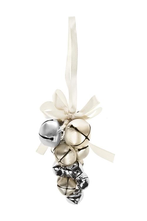 Украшение новогоднее БубенцыСувениры и упаковка<br>Выс=10см, металл, крем.-золот., подвесное<br>