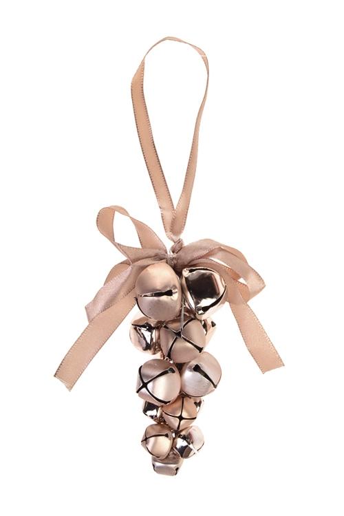 Украшение новогоднее БубенцыСувениры и упаковка<br>Выс=10см, металл, розово-золот., подвесное<br>