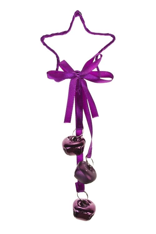 Украшение новогоднее Звезда с бубенчикамиДекоративные гирлянды и подвески<br>Выс=20см, металл, темно-фиолет., подвесное<br>