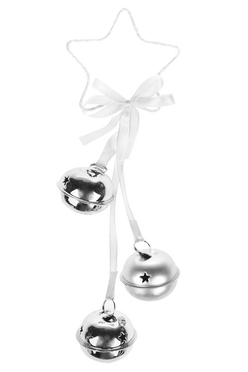 Украшение новогоднее Звезда с бубенцамиДекоративные гирлянды и подвески<br>Выс=22см, металл, бело-серебр., подвесное<br>
