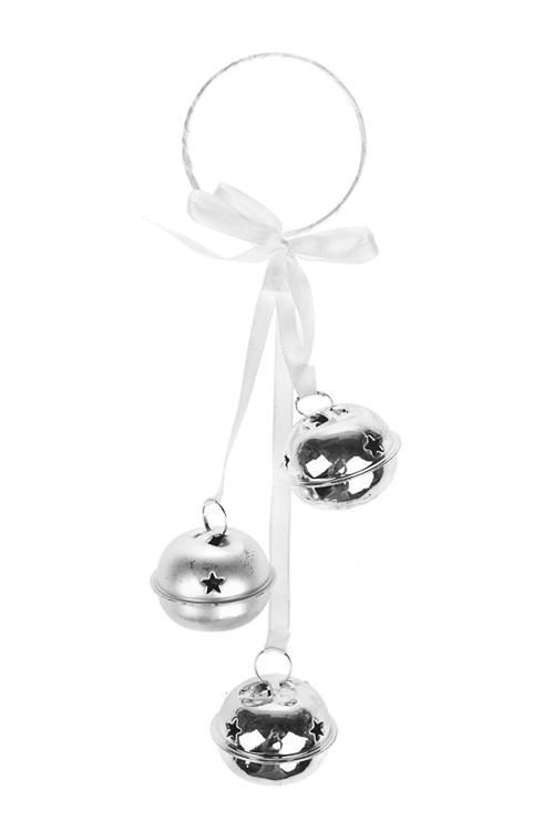 Украшение новогоднее Бубенцы со снежинкамиСувениры и упаковка<br>Выс=22см, металл, бело-серебр., подвесное<br>