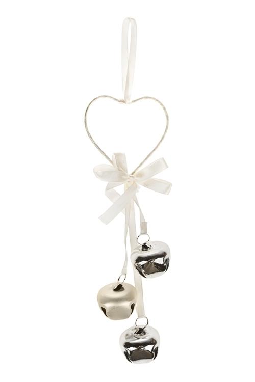Украшение новогоднее Сердце с бубенчикамиДекоративные гирлянды и подвески<br>Выс=22см, металл, крем.-золот., подвесное<br>