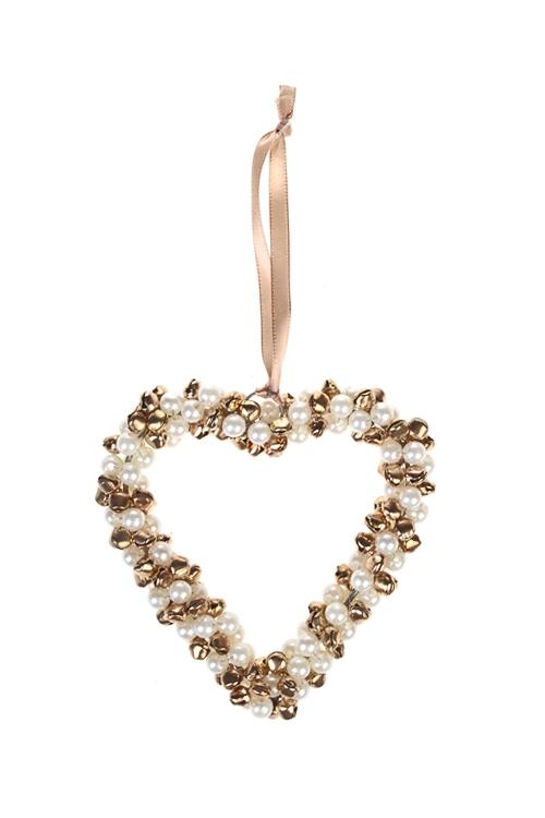 Украшение новогоднее Сердце из бубенцов и жемчужинДекоративные гирлянды и подвески<br>Выс=12см, металл, бело-золот., подвесное<br>